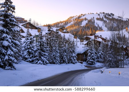 Snowy winter morning in Deer Valley, Utah, USA.
