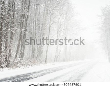 Snowy winter road during blizzard in Latvia #509487601
