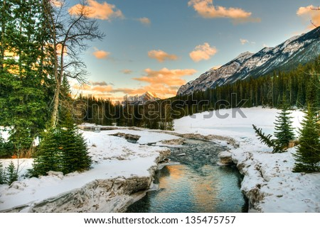 Snowy winter scenery in the Canadian Rocky Mountains - Banff National Park, Alberta Canada