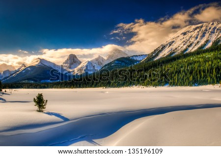 Snowy winter scenery in the Canadian Rocky Mountains - Kananaskis Country Alberta Canada
