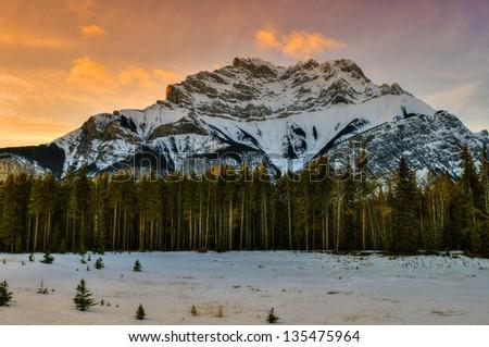 Snowy winter scenery in the Canadian Rocky Mountains - Kananaskis Country Alberta Canada - stock photo