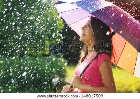 So much fun from summer rain  - stock photo