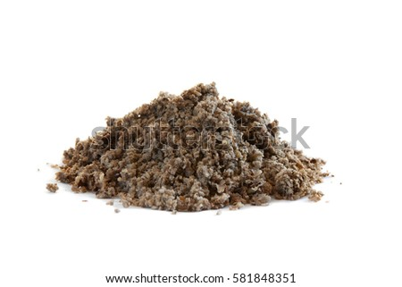 Soaked beet pulp mash, a popular hay alternative, isolated on white