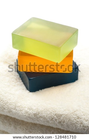Soap and towels stacked