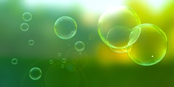Soap bubbles floating about on a sunny afternoon.
