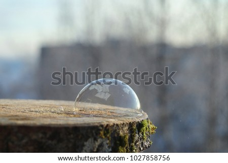 Soap bubbles freeze in the cold. Winter soapy water freezes in air. #1027858756