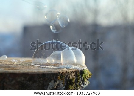 Soap bubbles freeze in the cold. Winter soapy water freezes in air. #1033727983