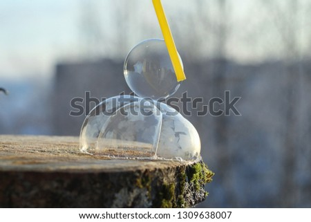 Soap bubbles freeze in the cold. Winter soapy water freezes in air. #1309638007