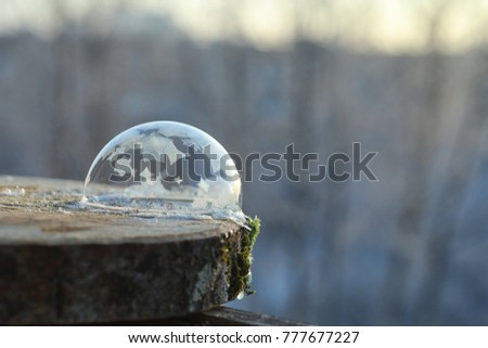 Soap bubbles freeze in the cold. Winter soapy water freezes in air. #777677227