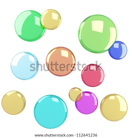 Soap bubbles isolated at white background