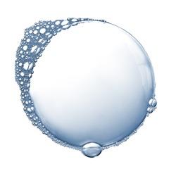 Soap foam bubbles isolated over white