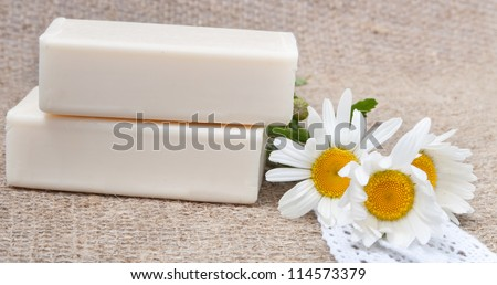 soap on natural sacking cloth with flowers