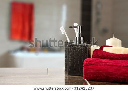 soap red towels free space and clean time