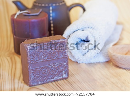 Soap, towel and other accessories for hammam