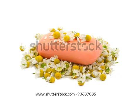 soap with chamomile medical isolated on white background