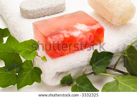 Soap with rose petals and bath items