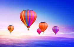 soar hot air balloons on blue sky