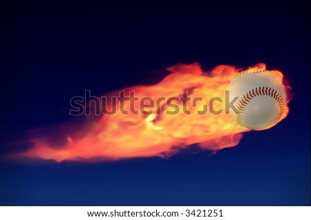 soaring baseball engulfed in flames against a night sky