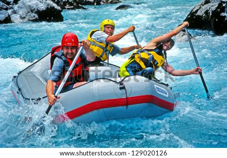 SOCA RIVER SLOVENIA JULY 8 White water rafting on the rapids of river Soca on July 8 1998 in Triglav national park Slovenia Soca is one of the most beautiful rivers of Europe