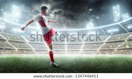 Soccer action. Professional soccer player kicks a ball on the night soccer stadium with fans and flags. 3d football background