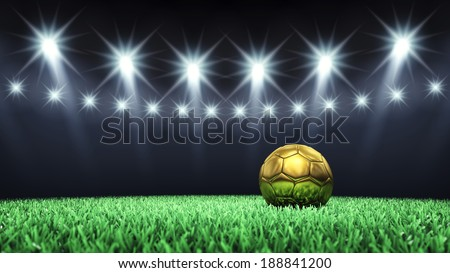 Soccer arena and golden ball with floodlights , Football stadium