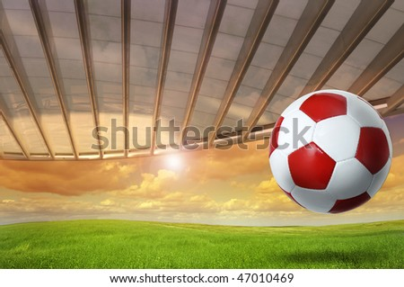 Soccer background with a ball outdoors