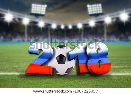 soccer background 2018 with soccer ball and soccer stadium background #1007225059