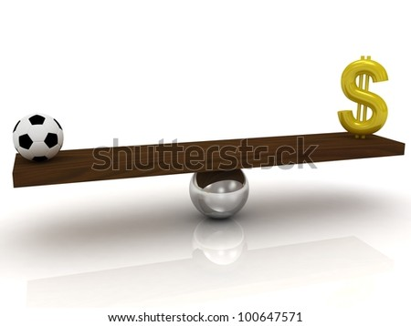 Soccer ball against the dollar in the balance