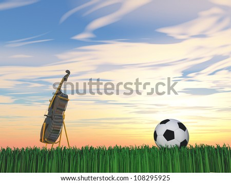 Soccer ball and cello on grass Sports or music combine or choice