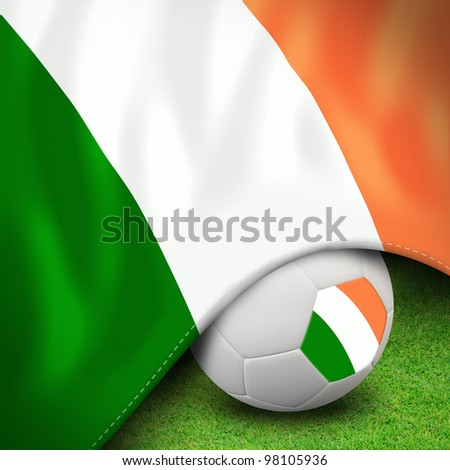 Soccer ball and flag euro ireland for euro 2012 group c