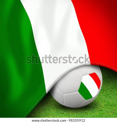 Soccer ball and flag euro italy for euro 2012 group c