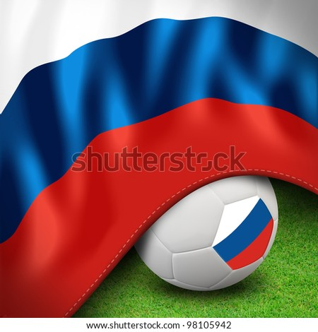 Soccer ball and flag euro russia for euro 2012 group a