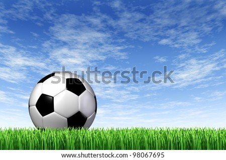Soccer Ball and grass field background with a blue sky and green european football stadium turf as a fun summer team leisure sport for players who like to kick a sphere and score a goal in a net. - stock photo