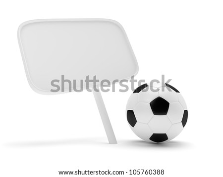 Soccer ball and placard isolated on whtie background