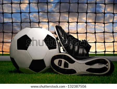 Grass Soccer Shoes Soccer Ball And Shoes in Grass