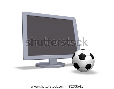 soccer ball and  tv on white background - 3d illustration