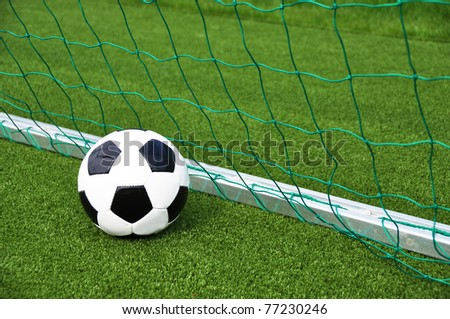 Soccer ball at the goal net