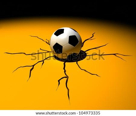 soccer ball cracking the floor