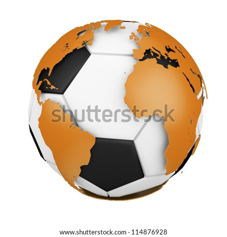 soccer ball enveloped the world map, object isolated background.