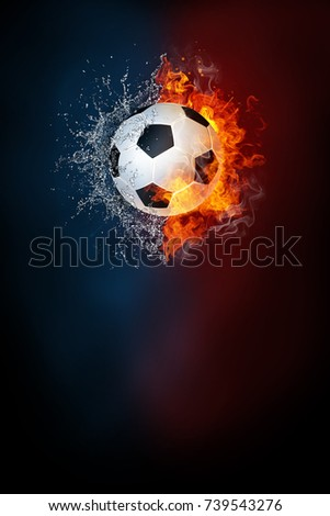 Soccer ball exploding by elements fire and water. Background for sports tournament poster or placard. Vertical design with copy space.