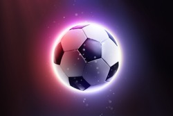 Soccer ball floating in space on an abstract background