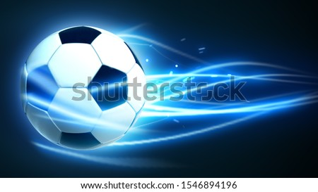 Soccer ball Flying in speed fast magic effect in blue flames and lights hi tech futuristic 3d animation rendering black background stock photo