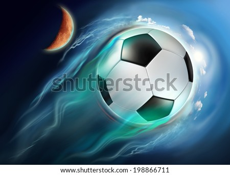 soccer ball globe travel in space with high speed - Shutterstock ID 198866711