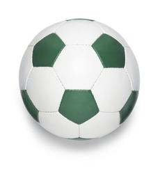 Soccer ball green color on white background. Clipping path