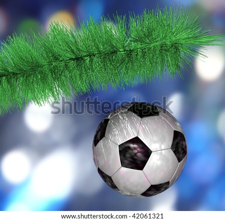Soccer ball hanging on the Christmas tree branch