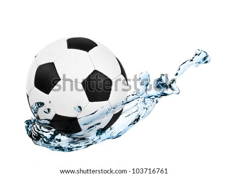 soccer ball in a water splash