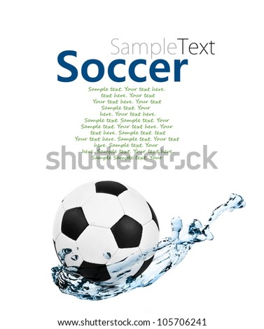 soccer ball in a water splash with sample text