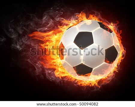 Soccer ball in fire. Illustration of the soccer ball enveloped in flames isolated on black background. High resolution soccer ball in fire image for a soccer game poster or banner.