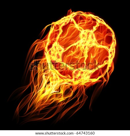Soccer ball in flames and fire