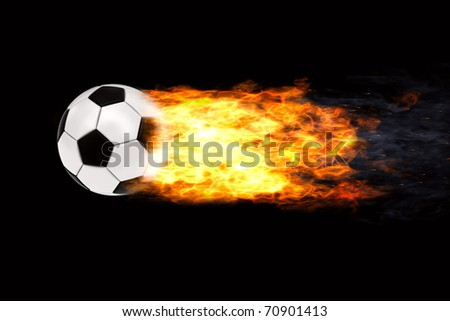 Soccer ball in flames on black background. High resolution 3D image